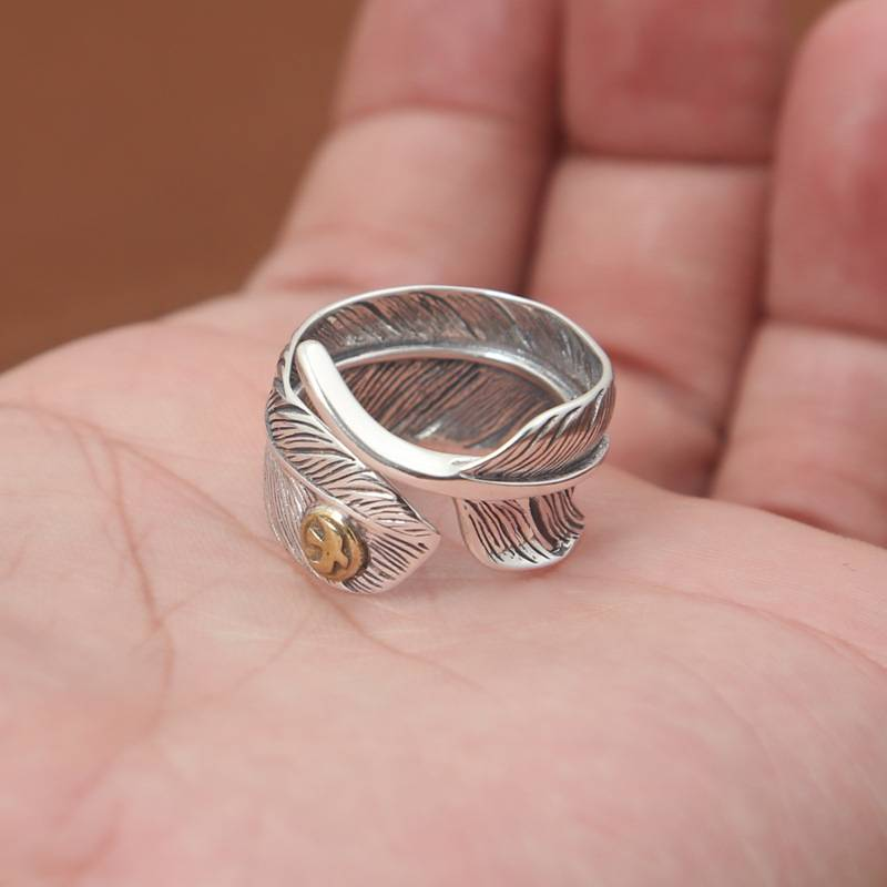 Factory Wholesale S925 Sterling Silver Rings Antique Thai Silver Ring Simple Fashion Eagle Feather Ring Featured Image