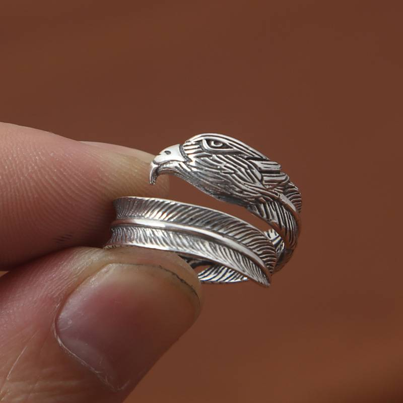 Factory Wholesale S925 Sterling Silver Ring Simple Fashion Delicate Retro Eagle Head Feather Ring Featured Image