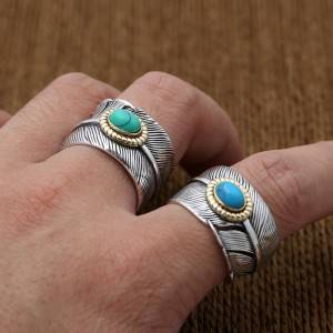 S925 Sterling Silver Japan Korea Rings Simple Fashion Natural Pine Stone Feather Ring Wholesale Jewelry