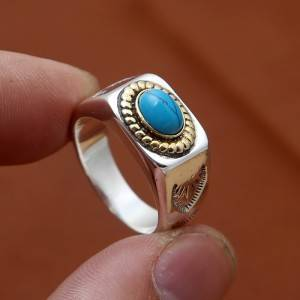 S925 Pure Silver Fashion Delicate Japanese Korean Rings Thai Silver Simple Natural Pine Stone Wide Ring Jewelry