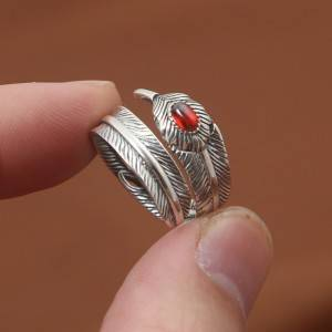 Factory Wholesale 925 Sterling Silver Thai Silver Ring Natural Garnet Stone Open Flexible Feather Rings Jewelry