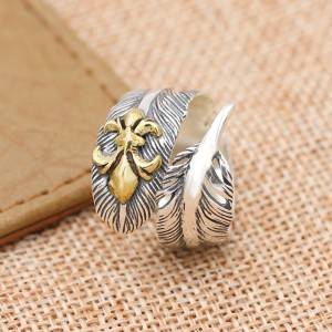 925 Pure Silver Thai Silver Popular Personality Ring Feather Anchor Fashion Open Flexible Rings Jewelry