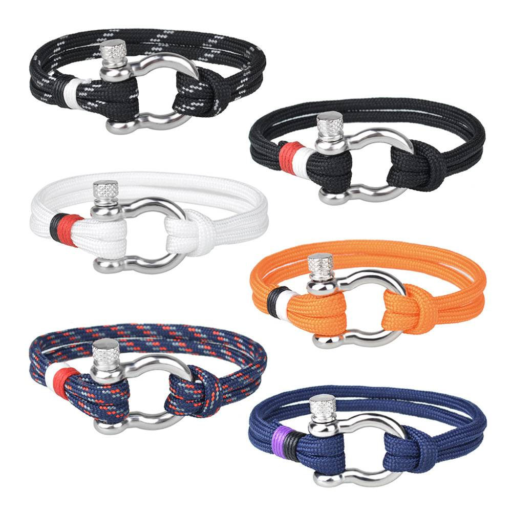 Wholesale U Shaped Horseshoe Buckle Bangles Handmade Woven Umbrell Rope Alloy Bracelet Featured Image