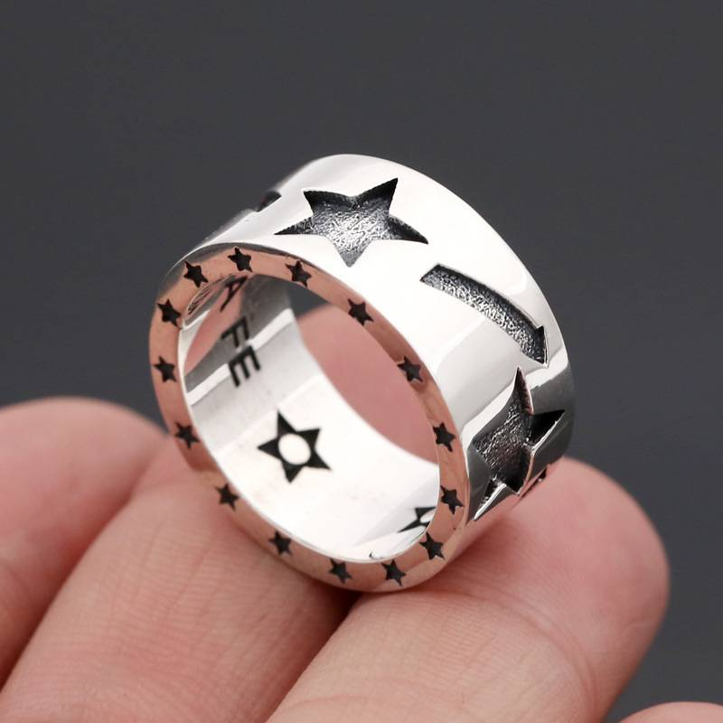 925 Silver Personality Trend Contracted Rings Five-pointed Star Men Wide Ring Jewelry Featured Image