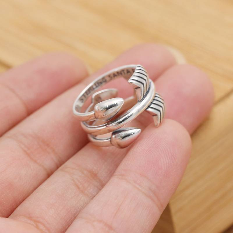 Factory Wholesale Price S925 Sterling Silver Rings Personality Cody Creative Unique Three Bow Men Open Ring Featured Image
