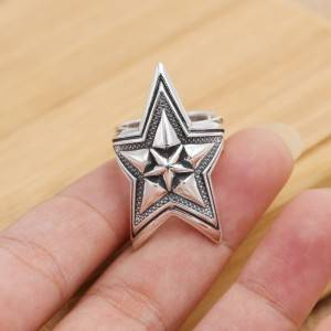 Pure 925 Silver Jewelry Personality Cody Wide Star Men Open Ring Unique Personality Trendy Rings