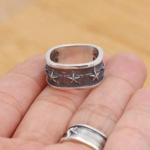 Wholesale S925 Sterling Silver Popular Cody Rings Star Retro Personality Quartet Men Women Ring