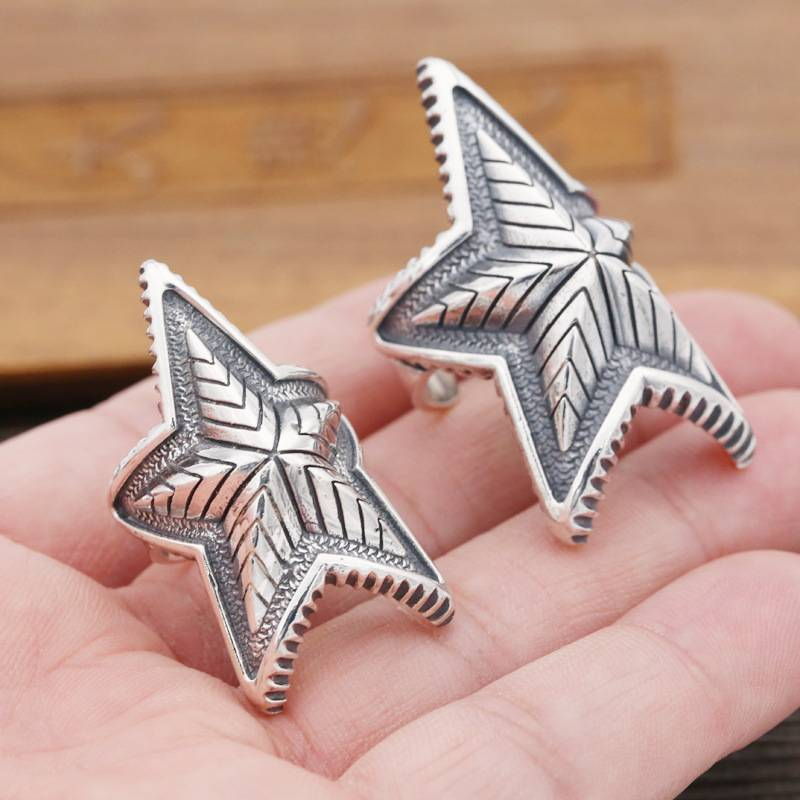 S925 Sterling Silver European American Punk Fashion Rings Trendy Wide Five-pointed Star Open Flexible Retro Ring Featured Image