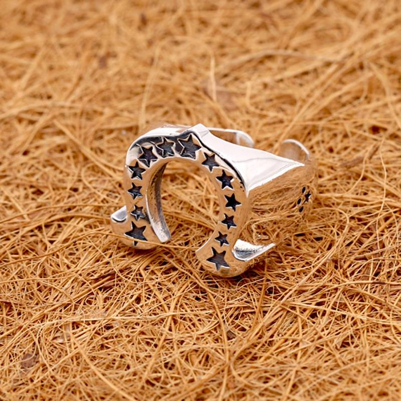 Pure 925 Sterling Silver Jewelry Punk Fashion Star Ring Personality Men Opening Horseshoe Shape Rings Featured Image