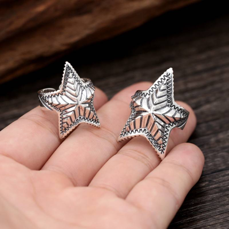 925 Sterling Silver Handmade Rings Retro Thai silver Personality Punk Fashion Star Opening Adjustable Ring Featured Image