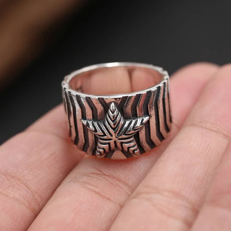 High Quality S925 Sterling Silver Ring Handmade Retro Thai Silver European American Punk Fashion Star Stripe Rings Jewelry Featured Image