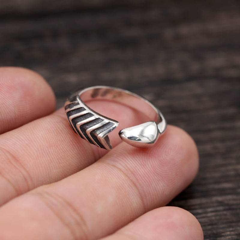 925 Pure Silver Handmade Thai Silver Ring Simple Men Women Creative Arrow Opening Rings Featured Image
