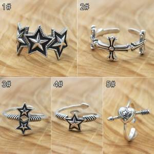 Wholesale 925 Sterling Silver Vintage Ring Japanese Korean Fashion Women Five-pointed Star Open Flexible Rings Jewelry