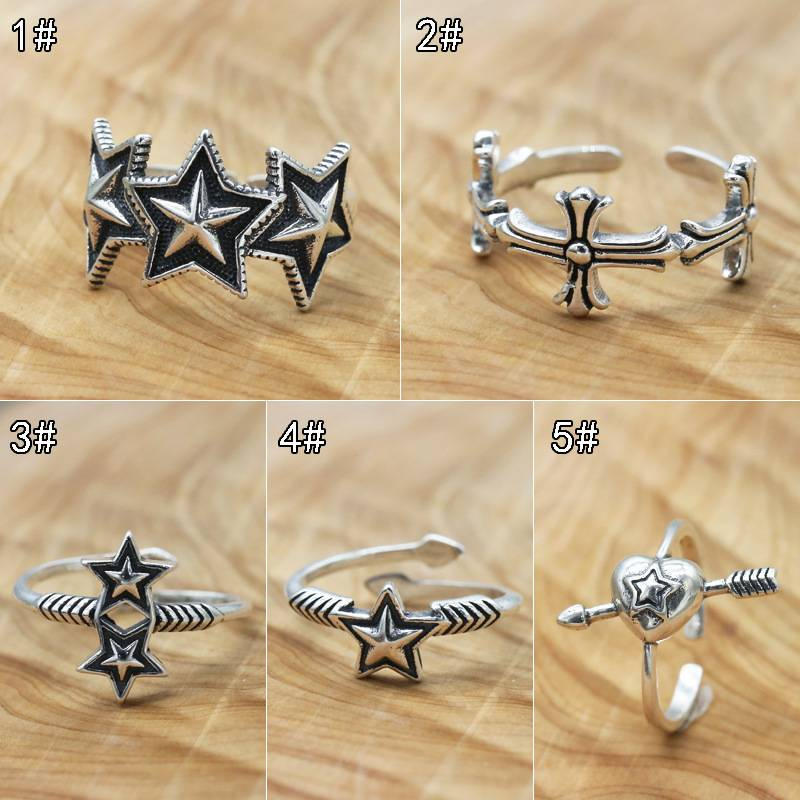 Wholesale 925 Sterling Silver Vintage Ring Japanese Korean Fashion Women Five-pointed Star Open Flexible Rings Jewelry Featured Image