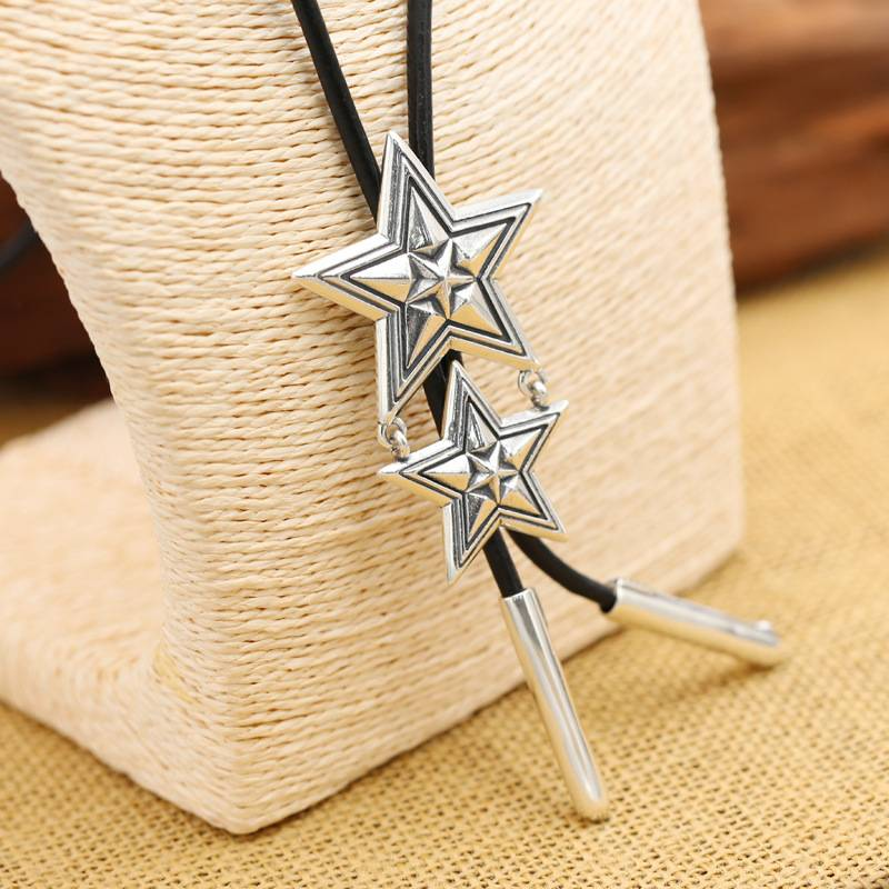 Factory Wholesale S925 Sterling Silver Necklace Jewelry Vintage Cody Five-pointed Star Men Women's Cow Leather Rope Sweater Necklace Chain Featured Image