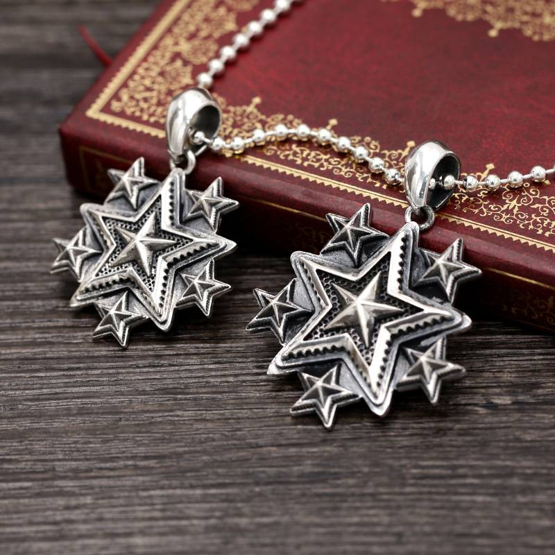 Wholesale S925 Pure Silver Pendants Jewelry Retro Punk Fashion Trendy Fashion Men Women's Five-pointed Star Popular Pendant Charms Featured Image
