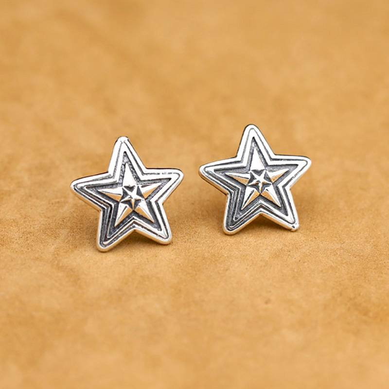 Simple Fashion Stud Earrings For Women Men S925 Sterling Silver Retro Vintage Earring Jewelry Featured Image
