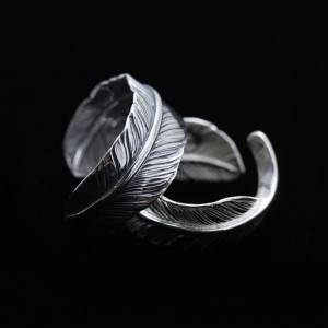 925 Sterling Silver Ornament Indian Feather Ring Couple Korean Opening Rings Christmas Present For Men Women