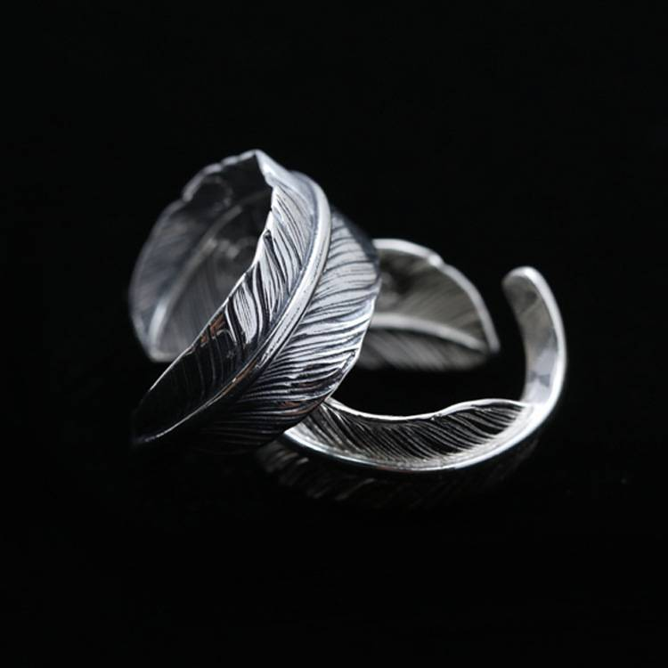925 Sterling Silver Ornament Indian Feather Ring Couple Korean Opening Rings Christmas Present For Men Women Featured Image