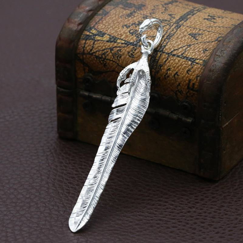 Feather Necklace Pendant Japan Korea Fashion Trend 925 Sterling Silver Men Women Personality Pendant Charms Featured Image
