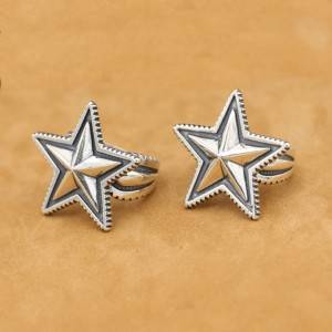 High Quality 925 Sterling Silver Open Rings Flexible For Men Women Retro Ancient Star Ring Jewelry