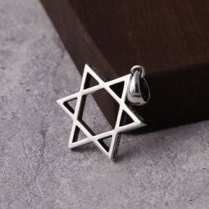 Factory Wholesale S925 Silver Trendy Hexagram Star Necklace Pendants Fashion Men Women Popular Korean Pendant Charm
