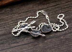 S925 Sterling Silver Retro Thai Silver Pendants Fashion Heart Arrow Couple Simple Popular Pendant For Necklace Making