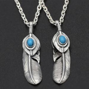 S925 Pure Silver Antique Thai Silver Pendant Charms Japanese Korean Handmade Eagle Blue Pine Feather Pendants Jewelry