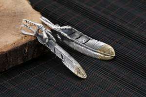 Factory Wholesale S925 Sterling Silver Accessories Retro Japanese Korean Fashion Eagle Claw Gradient Feather Pendant