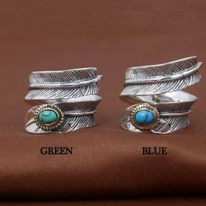 New Arrival S925 Sterling Silver Rings Japanese Korean Turquoise Feather Ring opening For Men Women Jewelry