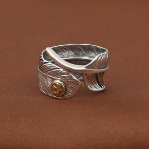 Factory Wholesale S925 Sterling Silver Rings Antique Thai Silver Ring Simple Fashion Eagle Feather Ring