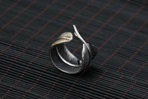 Factory Wholesale S925 Pure Silver Rings For Men Women Fashion Personality Vintage Feather Open Adjustable Ring Jewelry