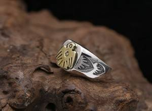 S925 Sterling Silver Korean Vintage Thai Silver Ring For Men Women Simple Gold Eagle Opening Flexible Rings