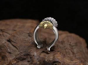 S925 Sterling Silver Retro Thai Silver Ring Overbearing Golden Eagle Head Personality Eagle Rings For Men Women Jewelry