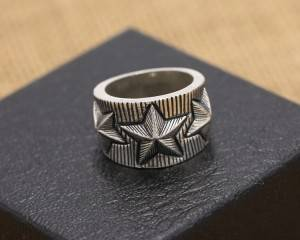 Wholesale 925 Sterling Silver Jewelry Fashion European American Punk Retro Stripes Five-pointed Star Men Wide Ring