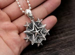 Wholesale S925 Pure Silver Pendants Jewelry Retro Punk Fashion Trendy Fashion Men Women's Five-pointed Star Popular Pendant Charms