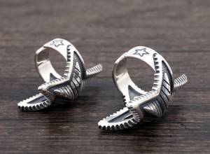 S925 Sterling Silver European American Punk Fashion Rings Trendy Wide Five-pointed Star Open Flexible Retro Ring