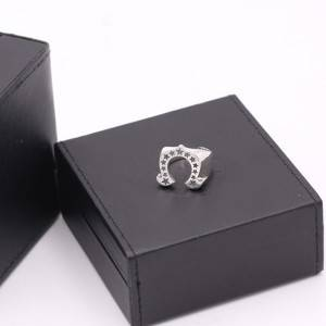 Pure 925 Sterling Silver Jewelry Punk Fashion Star Ring Personality Men Opening Horseshoe Shape Rings