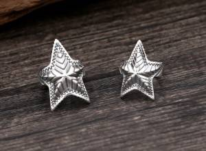 925 Sterling Silver Handmade Rings Retro Thai silver Personality Punk Fashion Star Opening Adjustable Ring