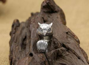 Factory Wholesale S925 Sterling Silver Rings Retro Creative Personality Owl Open Ring Fashion Ring For Men Women Jewelry