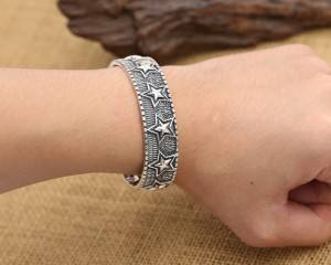 Factory Wholesale S925 Sterling Silver Bangles For Men Women Retro Ancient Thai Silver Star Opening Bracelets Jewelry