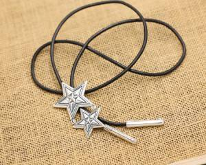 Factory Wholesale S925 Sterling Silver Necklace Jewelry Vintage Cody Five-pointed Star Men Women's Cow Leather Rope Sweater Necklace Chain