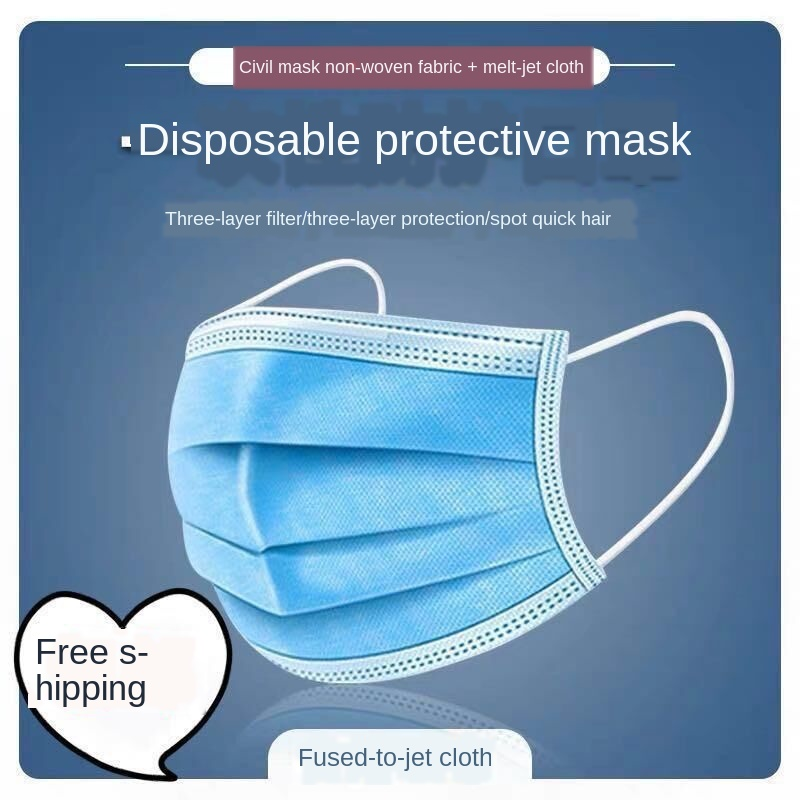 3/ply Disposable Protective Face Mask Nonwoven  Mouth Mask  Elastic Earloop Salon Mouth Face Masks Featured Image