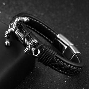Men Women Anchor Leather Bracelet European American Punk Style Fashion Personality Bangles Jewelry