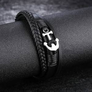Stainless Steel Men Bracelets Personality Anchor Retro Leather Rope Bangle Jewelry