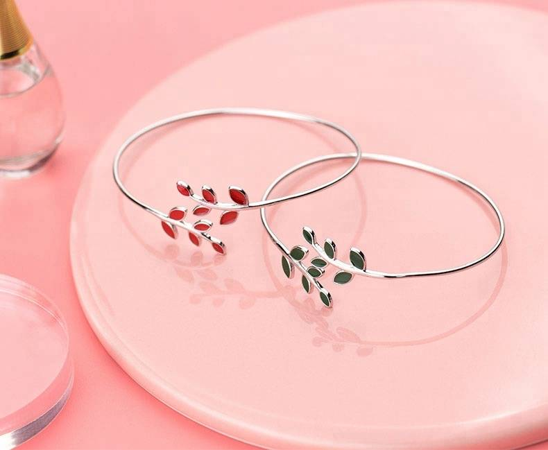 100% 925 Sterling Silver Leaves Buds Open Bracelets & Bangles For Women Fashion Creative Lady Jewelry