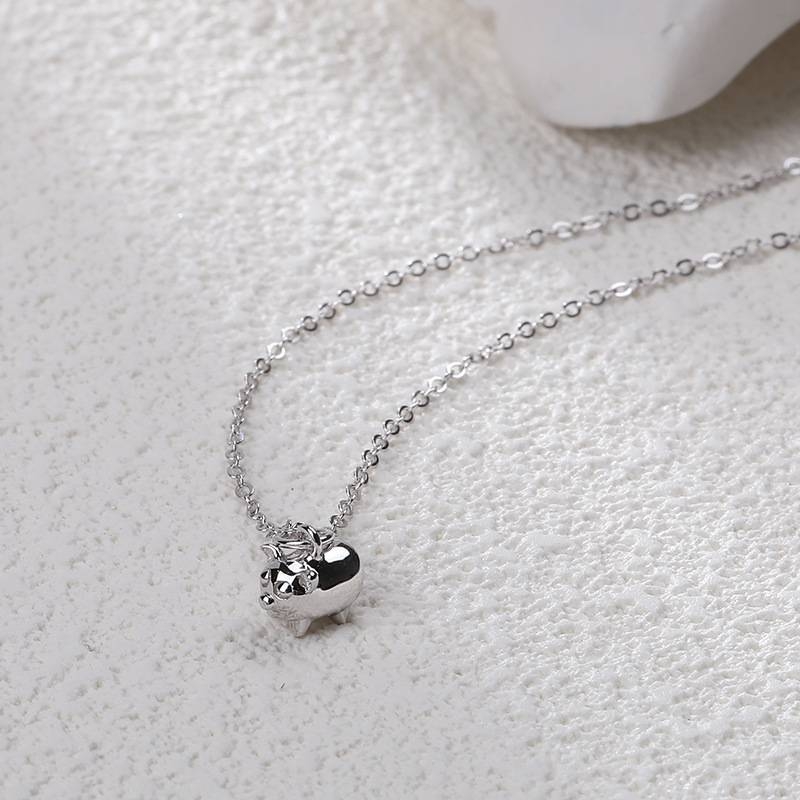 2019 Hot Style Pure 925 Sterling Silver Necklace for Women Delicate Fashion Zodiac Pig Pendant Necklace Jewelry