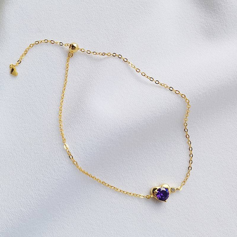 Delicate Wholesale Japan Korea Style 925 Sterling Silver Fashion Cute Sweet Purple Heart Zircon Bracelets Women Jewelry