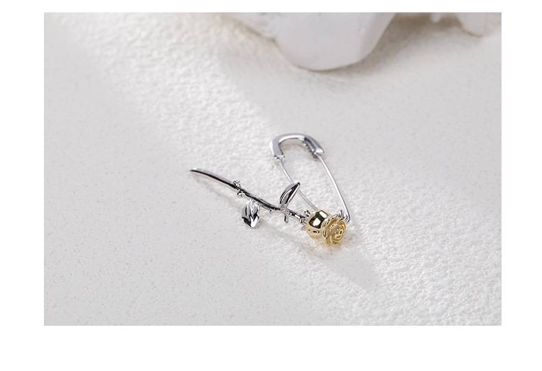 Pure 925 Silver European American New Design Creative Concise Rose Pin Drop Earring Fine Jewelry