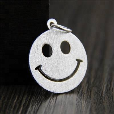 New 925 Sterling Silver Smile Face Dangle Charms fit Women Charm Bracelets Jewelry Gift